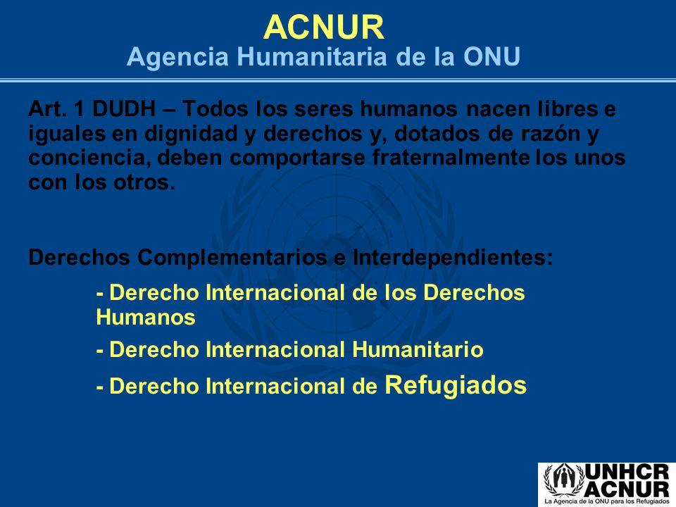 ACNUR Agencia Humanitaria de la ONU Art. 1 DUDH – Todos los seres humanos nacen libres e iguales en dignidad y derechos y, dotados de razón y concienc