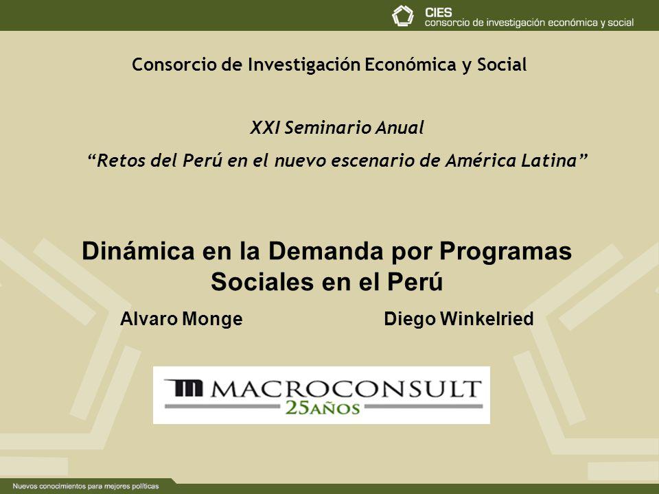 Consorcio de Investigación Económica y Social Dinámica en la Demanda por Programas Sociales en el Perú Alvaro Monge Diego Winkelried XXI Seminario Anual Retos del Perú en el nuevo escenario de América Latina