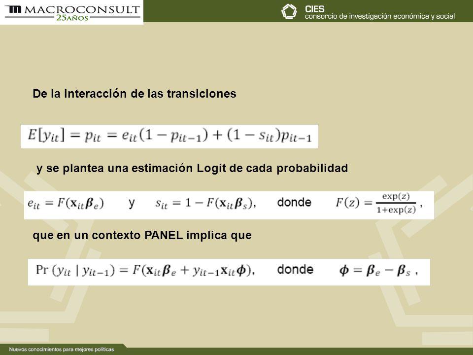 De la interacción de las transiciones y se plantea una estimación Logit de cada probabilidad que en un contexto PANEL implica que