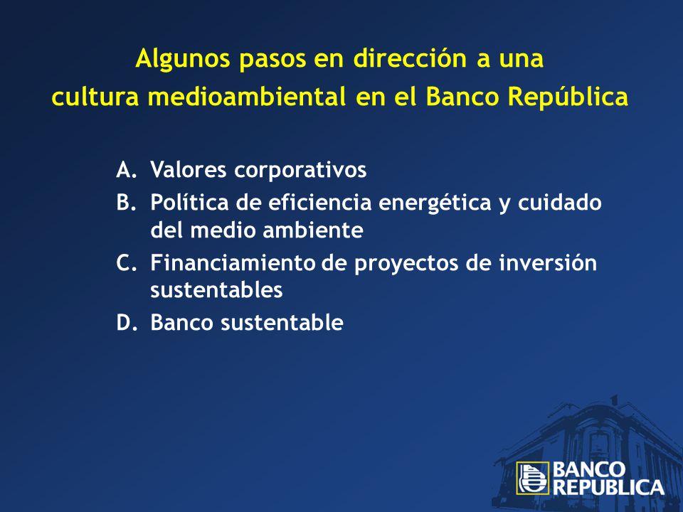 Algunos pasos en dirección a una cultura medioambiental en el Banco República A.Valores corporativos B.Política de eficiencia energética y cuidado del medio ambiente C.Financiamiento de proyectos de inversión sustentables D.Banco sustentable