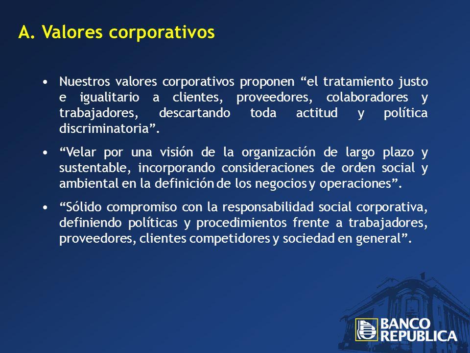 A.Valores corporativos Nuestros valores corporativos proponen el tratamiento justo e igualitario a clientes, proveedores, colaboradores y trabajadores, descartando toda actitud y política discriminatoria.