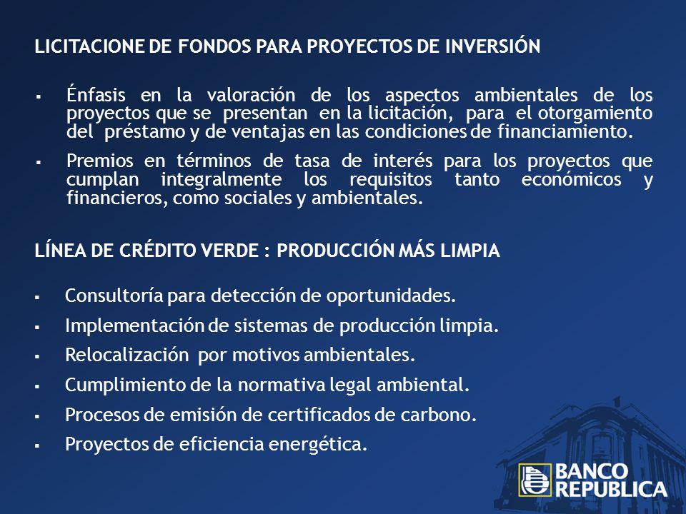 LICITACIONE DE FONDOS PARA PROYECTOS DE INVERSIÓN Énfasis en la valoración de los aspectos ambientales de los proyectos que se presentan en la licitación, para el otorgamiento del préstamo y de ventajas en las condiciones de financiamiento.