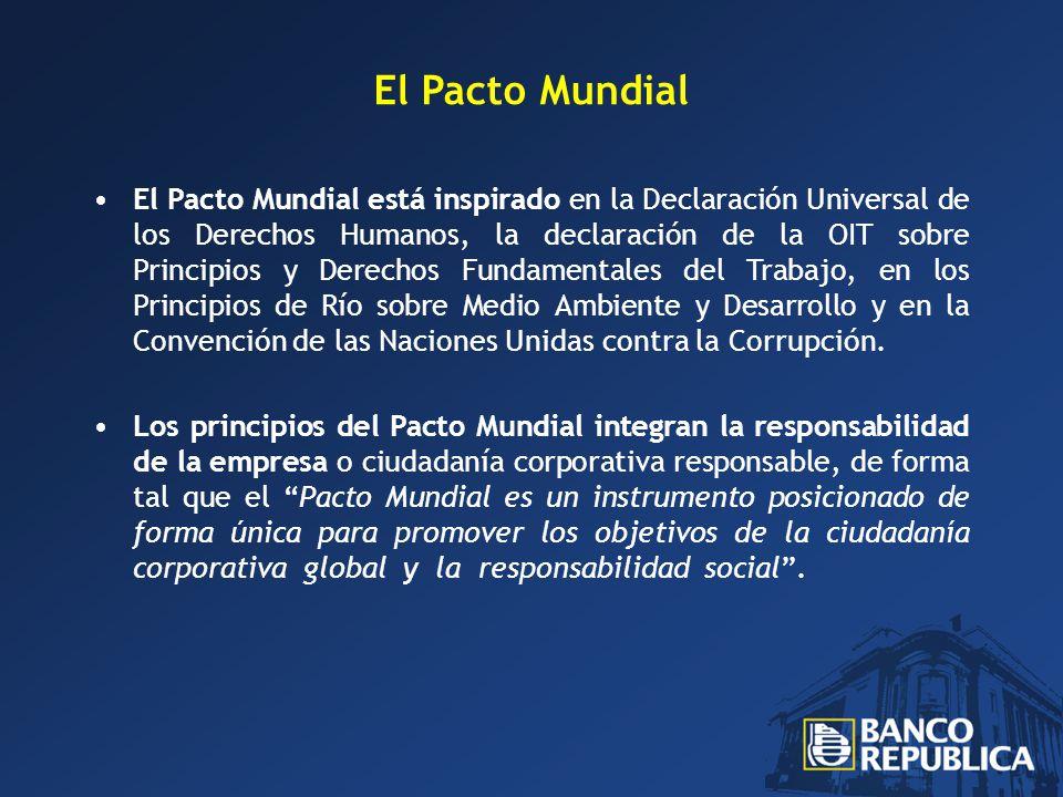 El Pacto Mundial El Pacto Mundial está inspirado en la Declaración Universal de los Derechos Humanos, la declaración de la OIT sobre Principios y Derechos Fundamentales del Trabajo, en los Principios de Río sobre Medio Ambiente y Desarrollo y en la Convención de las Naciones Unidas contra la Corrupción.