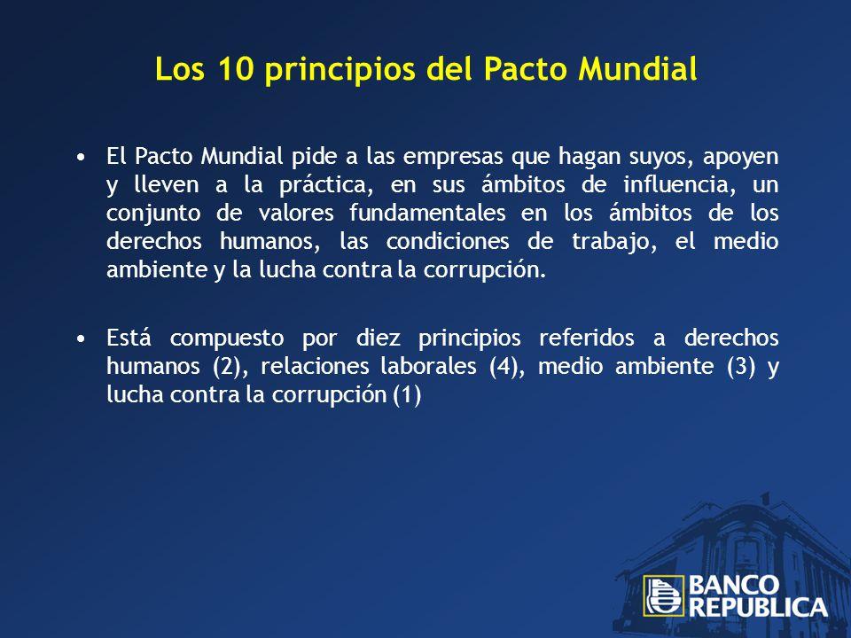 Los 10 principios del Pacto Mundial El Pacto Mundial pide a las empresas que hagan suyos, apoyen y lleven a la práctica, en sus ámbitos de influencia, un conjunto de valores fundamentales en los ámbitos de los derechos humanos, las condiciones de trabajo, el medio ambiente y la lucha contra la corrupción.