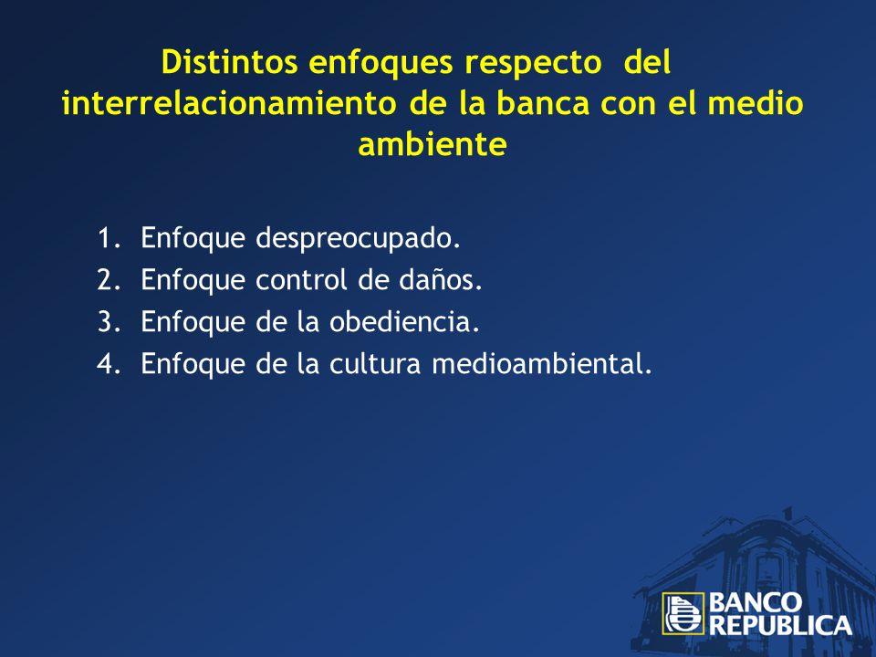 Distintos enfoques respecto del interrelacionamiento de la banca con el medio ambiente 1.Enfoque despreocupado.