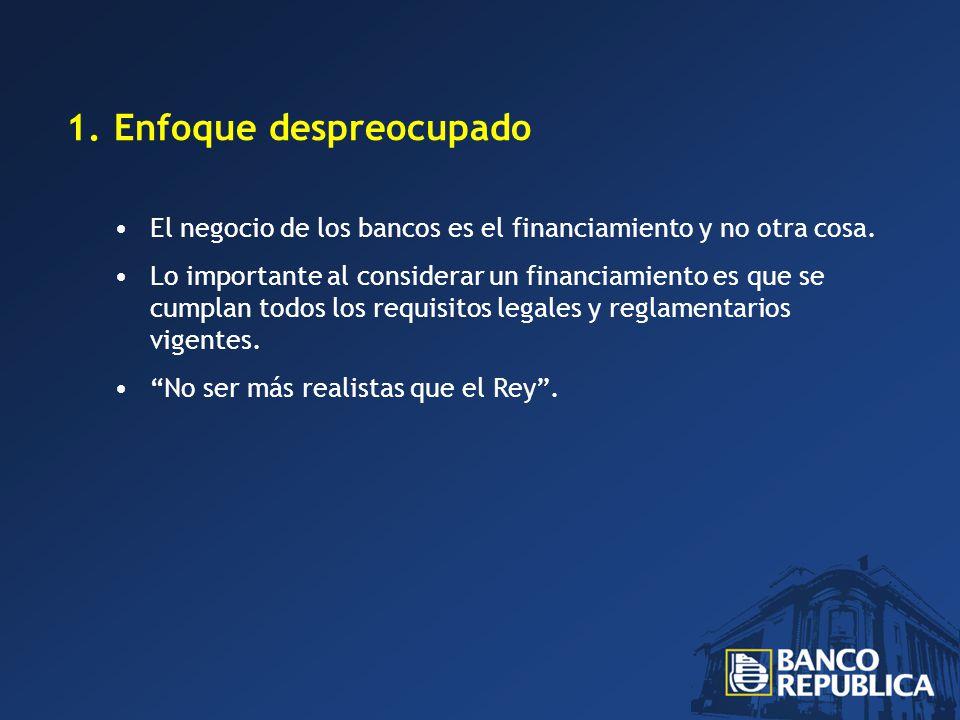 1.Enfoque despreocupado El negocio de los bancos es el financiamiento y no otra cosa.