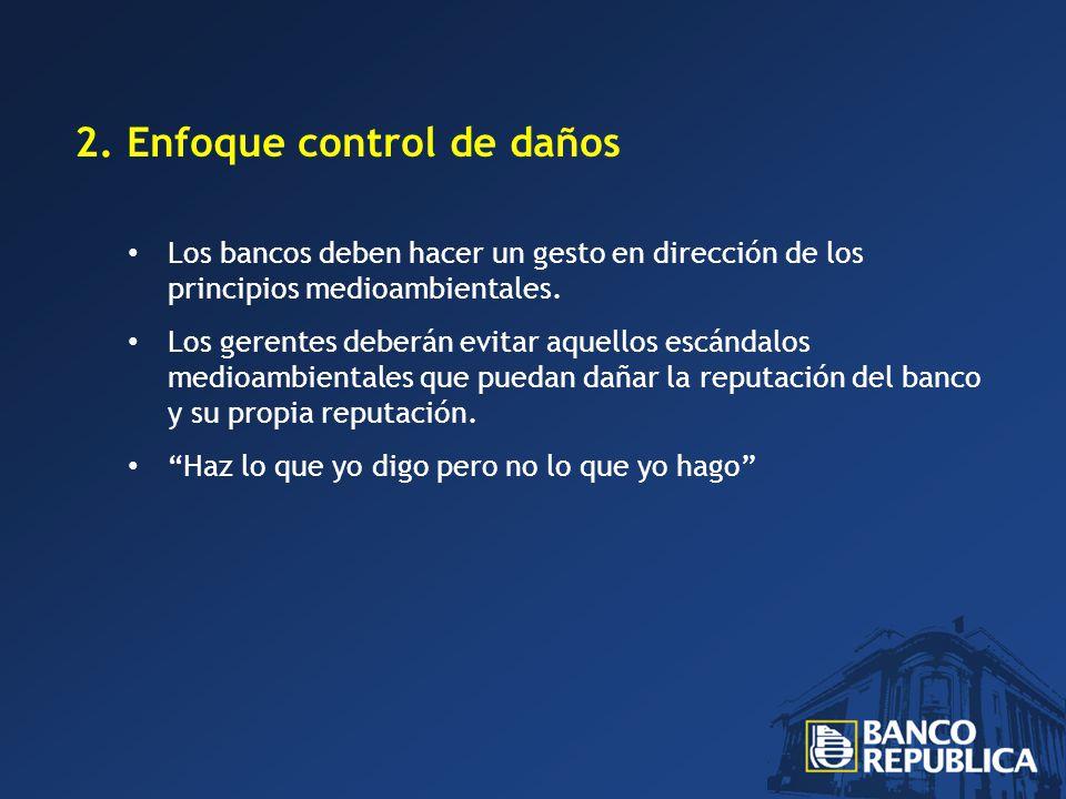 2. Enfoque control de daños Los bancos deben hacer un gesto en dirección de los principios medioambientales. Los gerentes deberán evitar aquellos escá