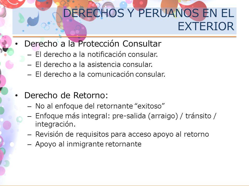 DERECHOS Y PERUANOS EN EL EXTERIOR Derecho a la Protección Consultar –El derecho a la notificación consular. –El derecho a la asistencia consular. –El
