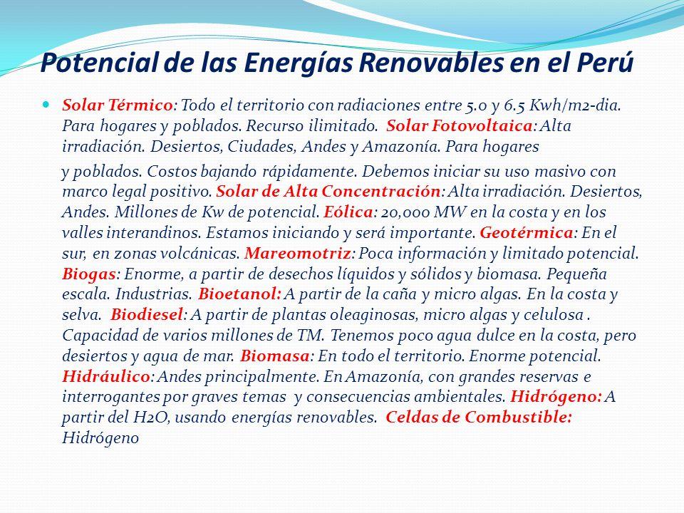 Escenario posible para el 2020 Potencia Instalada en MW 13,900-15,500 Máxima demanda en MW 8,000-9,000 Producción electricidad en GWh/año 53,000-55,000 Consumo anual en KWh /cap-año 1,500-1,700 Ingresos Mercado Eléctrico.
