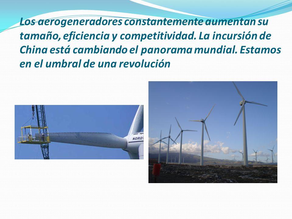 Los aerogeneradores constantemente aumentan su tamaño, eficiencia y competitividad.