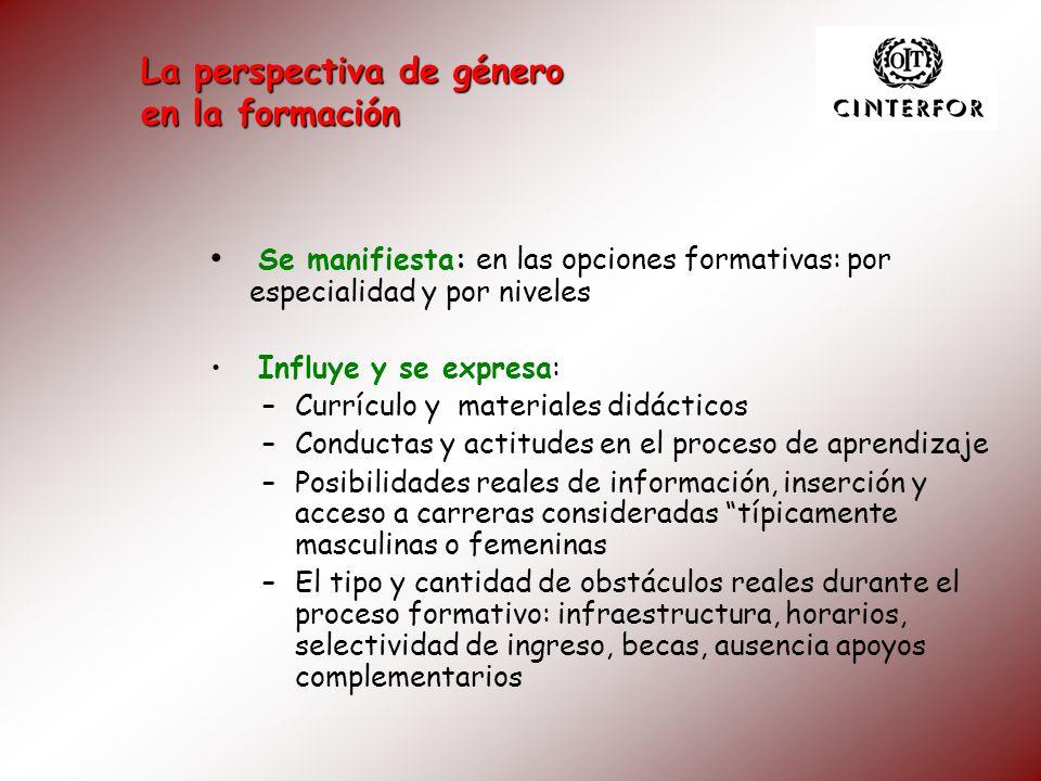 Se manifiesta: en las opciones formativas: por especialidad y por niveles Influye y se expresa: –Currículo y materiales didácticos –Conductas y actitu