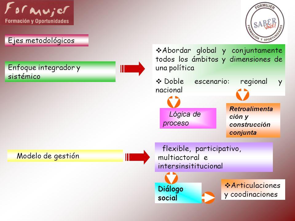 Ejes metodológicos Enfoque integrador y sistémico Abordar global y conjuntamente todos los ámbitos y dimensiones de una política Doble escenario: regi