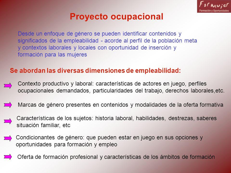 Proyecto ocupacional Desde un enfoque de género se pueden identificar contenidos y significados de la empleabilidad - acorde al perfil de la población