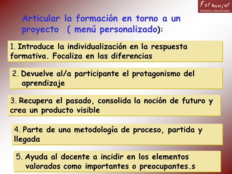 Articular la formación en torno a un proyecto ( menú personalizado ): 1. Introduce la individualización en la respuesta formativa. Focaliza en las dif
