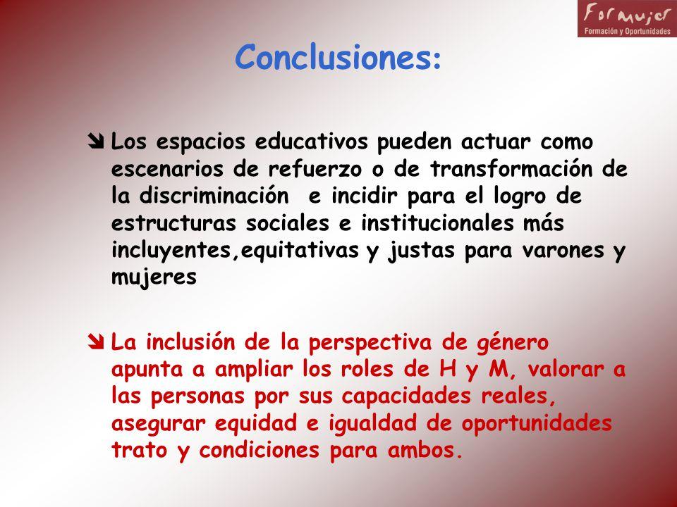 Conclusiones : Los espacios educativos pueden actuar como escenarios de refuerzo o de transformación de la discriminación e incidir para el logro de e
