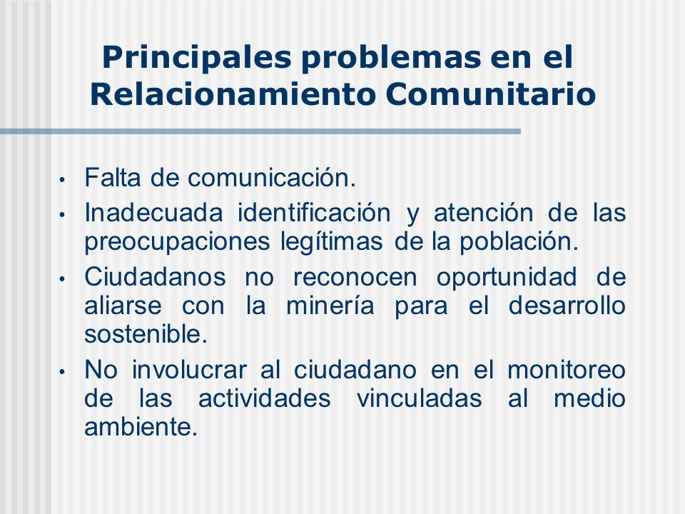 Principales problemas en el Relacionamiento Comunitario Falta de comunicación.
