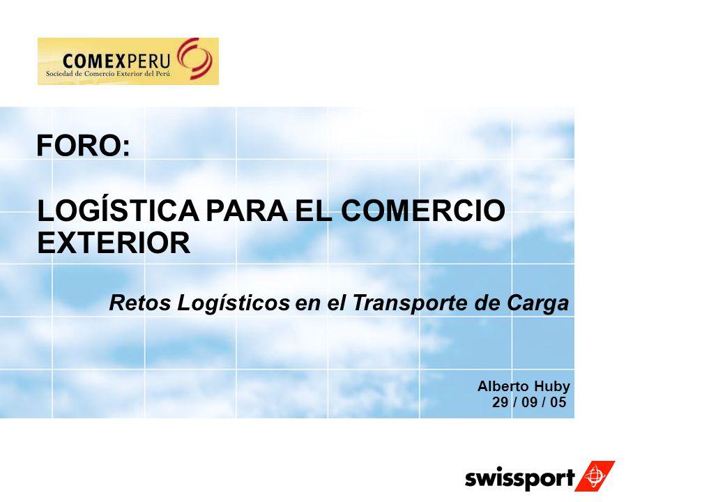 FORO: LOGÍSTICA PARA EL COMERCIO EXTERIOR Retos Logísticos en el Transporte de Carga Alberto Huby 29 / 09 / 05