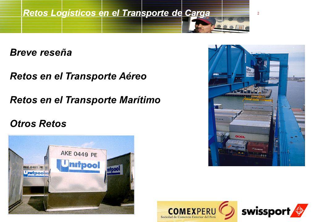 2 Retos Logísticos en el Transporte de Carga Breve reseña Retos en el Transporte Aéreo Retos en el Transporte Marítimo Otros Retos