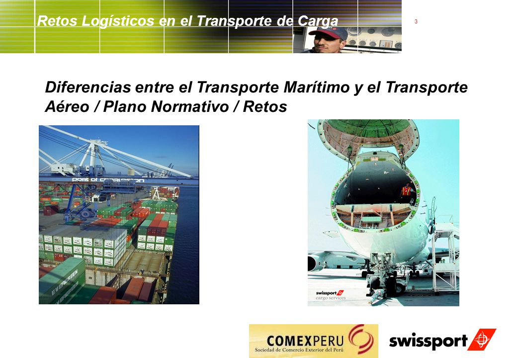 3 Retos Logísticos en el Transporte de Carga Diferencias entre el Transporte Marítimo y el Transporte Aéreo / Plano Normativo / Retos