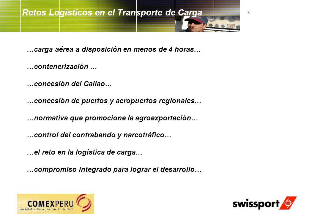 5 Retos Logísticos en el Transporte de Carga …carga aérea a disposición en menos de 4 horas… …contenerización … …concesión del Callao… …concesión de p