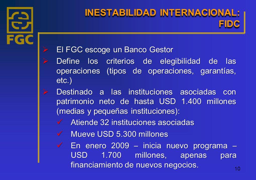 10 El FGC escoge un Banco Gestor El FGC escoge un Banco Gestor Define los criterios de elegibilidad de las operaciones (tipos de operaciones, garantías, etc.) Define los criterios de elegibilidad de las operaciones (tipos de operaciones, garantías, etc.) Destinado a las instituciones asociadas con patrimonio neto de hasta USD 1.400 millones (medias y pequeñas instituciones): Destinado a las instituciones asociadas con patrimonio neto de hasta USD 1.400 millones (medias y pequeñas instituciones): Atiende 32 instituciones asociadas Atiende 32 instituciones asociadas Mueve USD 5.300 millones Mueve USD 5.300 millones En enero 2009 – inicia nuevo programa – USD 1.700 millones, apenas para financiamiento de nuevos negocios.