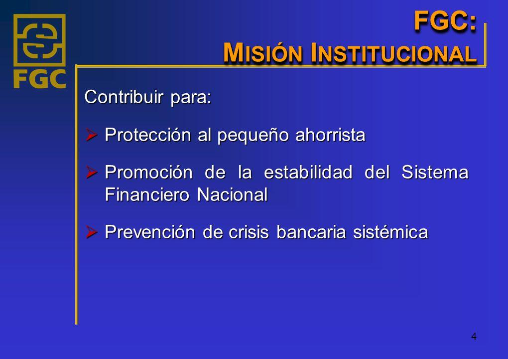 4 Contribuir para: Protección al pequeño ahorrista Protección al pequeño ahorrista Promoción de la estabilidad del Sistema Financiero Nacional Promoción de la estabilidad del Sistema Financiero Nacional Prevención de crisis bancaria sistémica Prevención de crisis bancaria sistémica FGC: M ISIÓN I NSTITUCIONAL