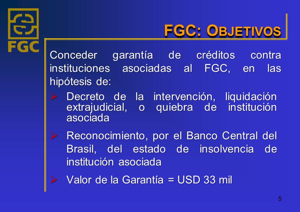 5 FGC: O BJETIVOS Decreto de la intervención, liquidación extrajudicial, o quiebra de institución asociada Decreto de la intervención, liquidación extrajudicial, o quiebra de institución asociada Reconocimiento, por el Banco Central del Brasil, del estado de insolvencia de institución asociada Reconocimiento, por el Banco Central del Brasil, del estado de insolvencia de institución asociada Valor de la Garantía = USD 33 mil Valor de la Garantía = USD 33 mil Conceder garantía de créditos contra instituciones asociadas al FGC, en las hipótesis de: