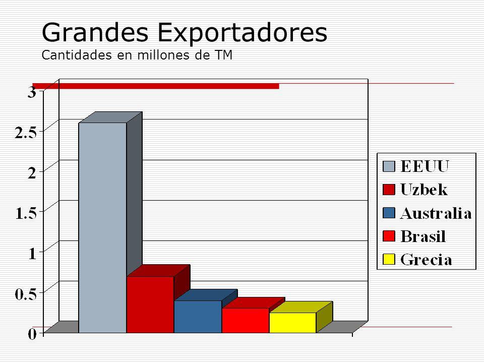 Grandes Exportadores Cantidades en millones de TM