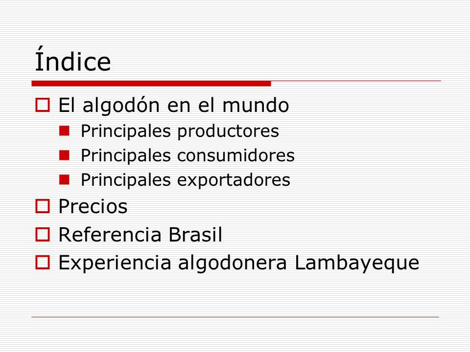 Índice El algodón en el mundo Principales productores Principales consumidores Principales exportadores Precios Referencia Brasil Experiencia algodone