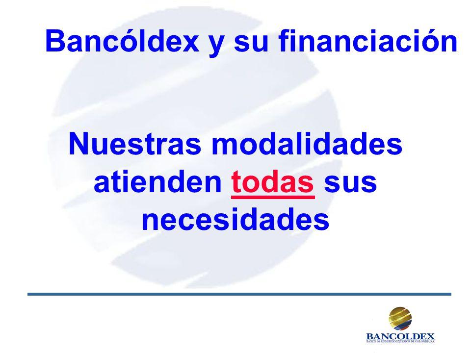 Bancóldex y su financiación Nuestras modalidades atienden todas sus necesidades