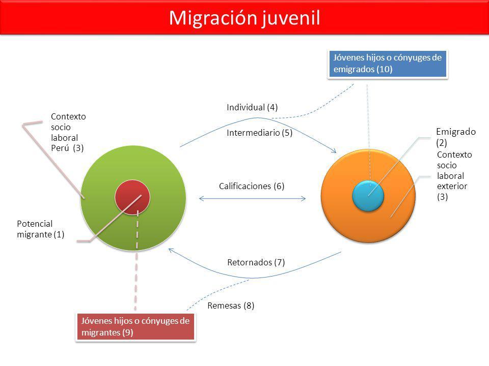 Migración juvenil Contexto socio laboral Perú (3) Potencial migrante (1) Emigrado (2) Contexto socio laboral exterior (3) Jóvenes hijos o cónyuges de migrantes (9) Jóvenes hijos o cónyuges de emigrados (10) Individual (4) Intermediario (5) Calificaciones (6) Retornados (7) Remesas (8)