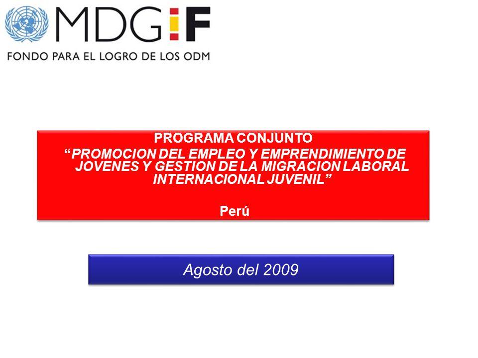 PROGRAMA CONJUNTO PROMOCION DEL EMPLEO Y EMPRENDIMIENTO DE JOVENES Y GESTION DE LA MIGRACION LABORAL INTERNACIONAL JUVENIL Perú PROGRAMA CONJUNTO PROM