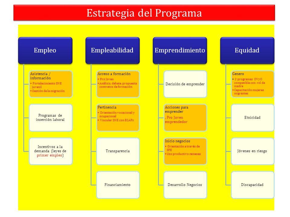 Estrategia del Programa Empleo Asistencia / información Fortalecimiento SNE juvenil Gestión de la migración Programas de inserción laboral Incentivos