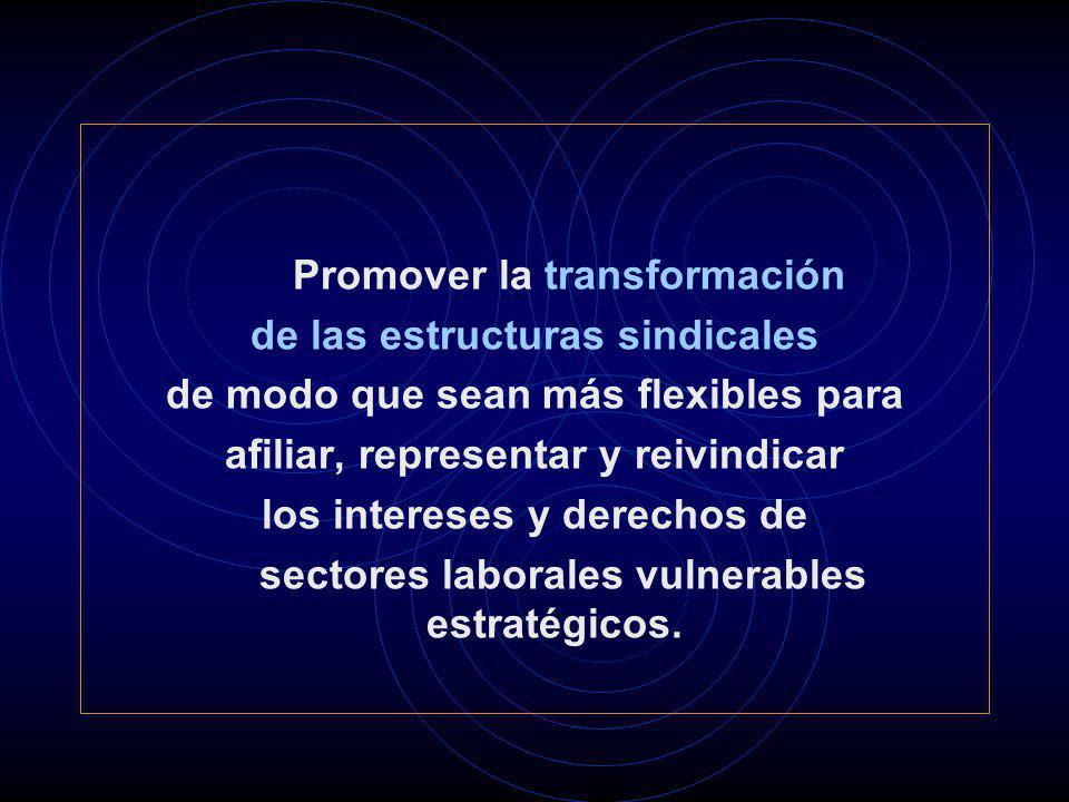 Promover la transformación de las estructuras sindicales de modo que sean más flexibles para afiliar, representar y reivindicar los intereses y derech