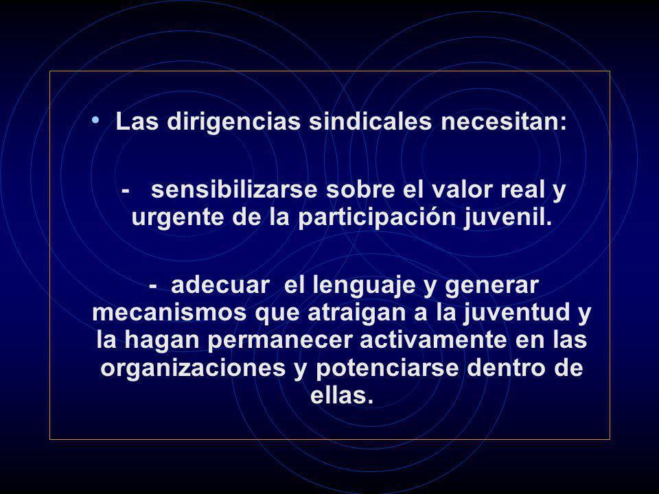 Las dirigencias sindicales necesitan: - sensibilizarse sobre el valor real y urgente de la participación juvenil. - adecuar el lenguaje y generar meca