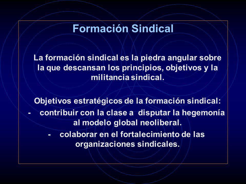 Formación Sindical La formación sindical es la piedra angular sobre la que descansan los principios, objetivos y la militancia sindical. Objetivos est