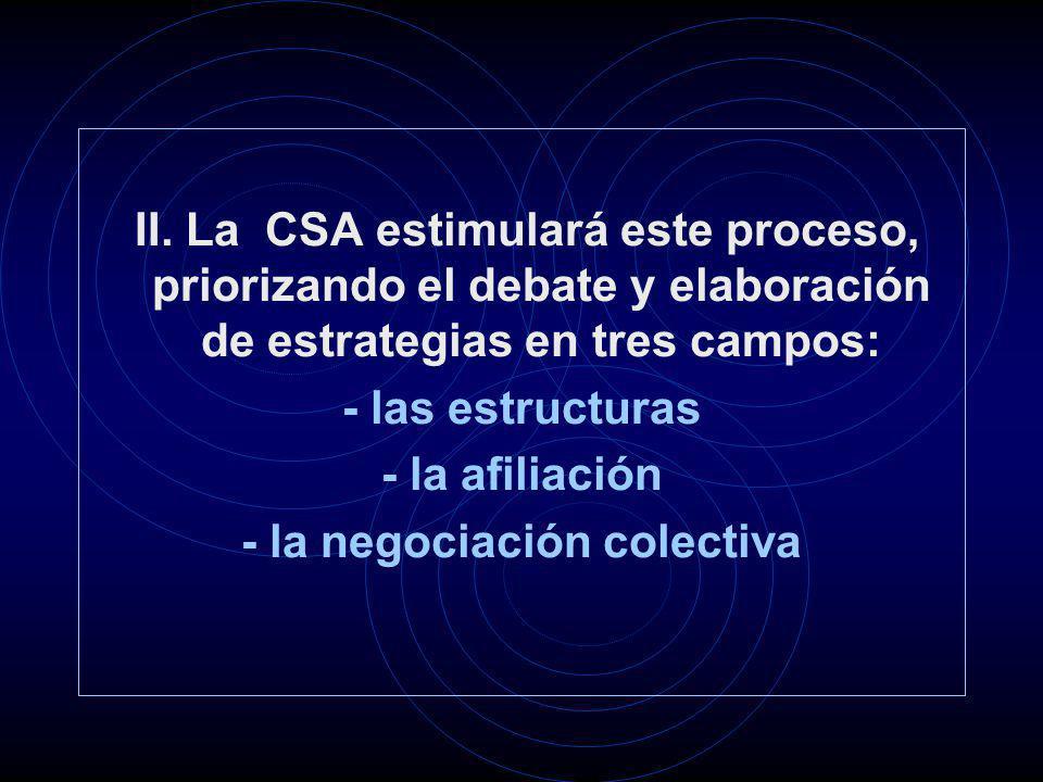 II. La CSA estimulará este proceso, priorizando el debate y elaboración de estrategias en tres campos: - las estructuras - la afiliación - la negociac