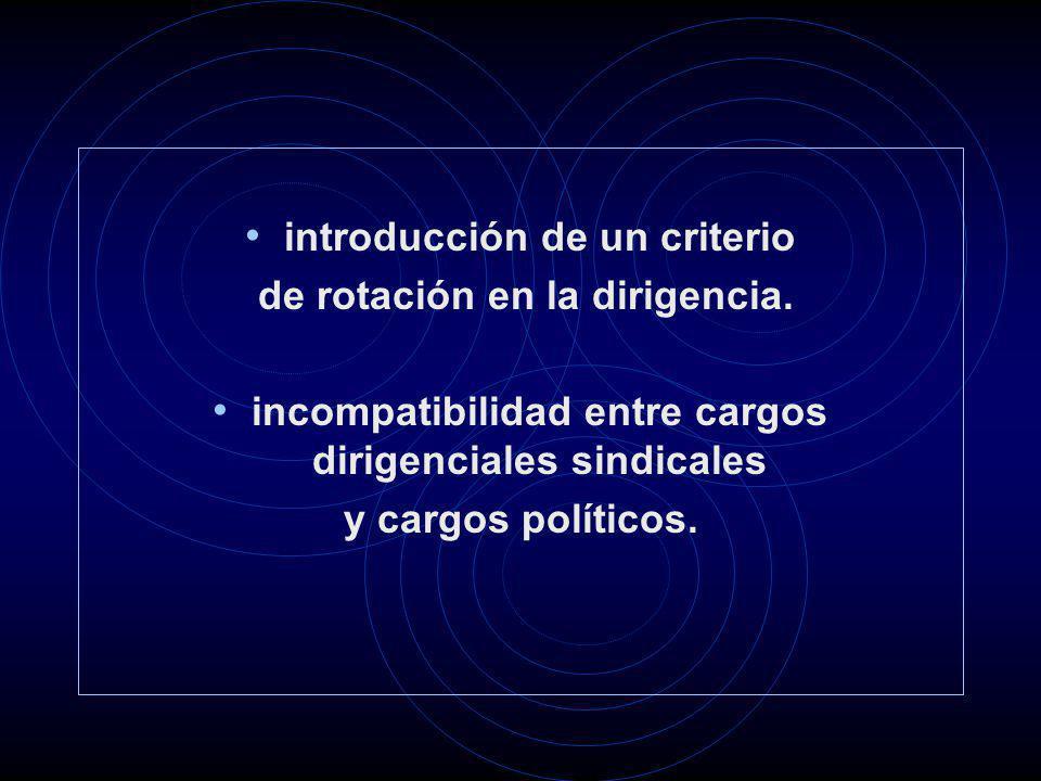 introducción de un criterio de rotación en la dirigencia. incompatibilidad entre cargos dirigenciales sindicales y cargos políticos.
