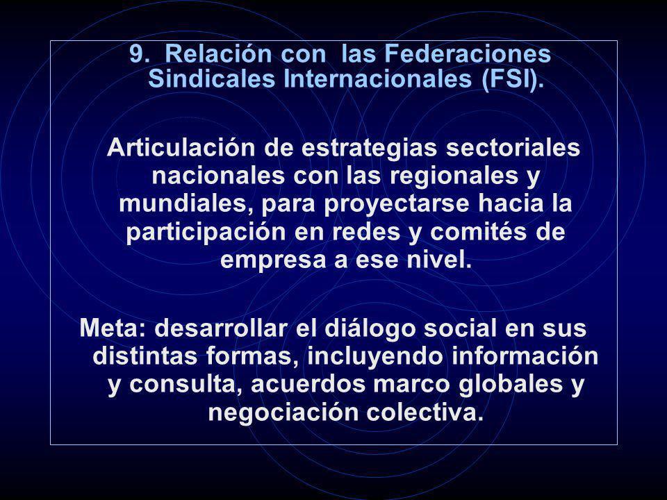 9. Relación con las Federaciones Sindicales Internacionales (FSI). Articulación de estrategias sectoriales nacionales con las regionales y mundiales,