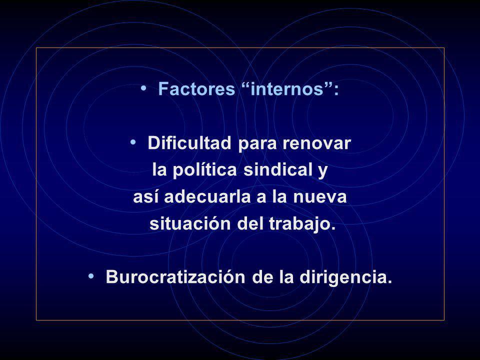 Factores internos: Dificultad para renovar la política sindical y así adecuarla a la nueva situación del trabajo. Burocratización de la dirigencia.