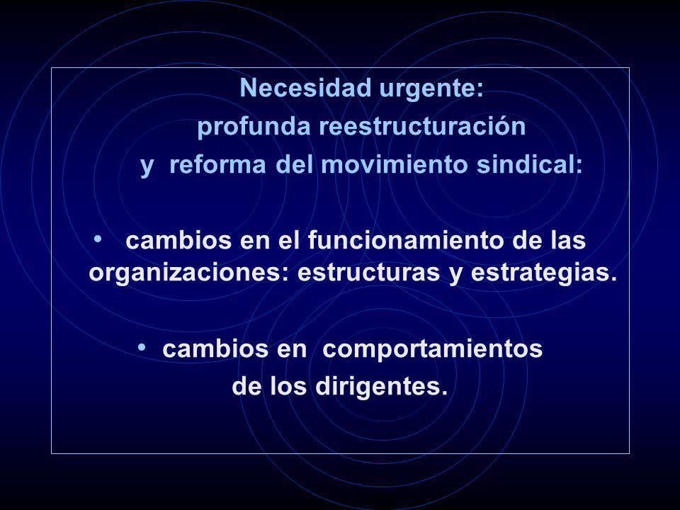 Necesidad urgente: profunda reestructuración y reforma del movimiento sindical: cambios en el funcionamiento de las organizaciones: estructuras y estrategias.
