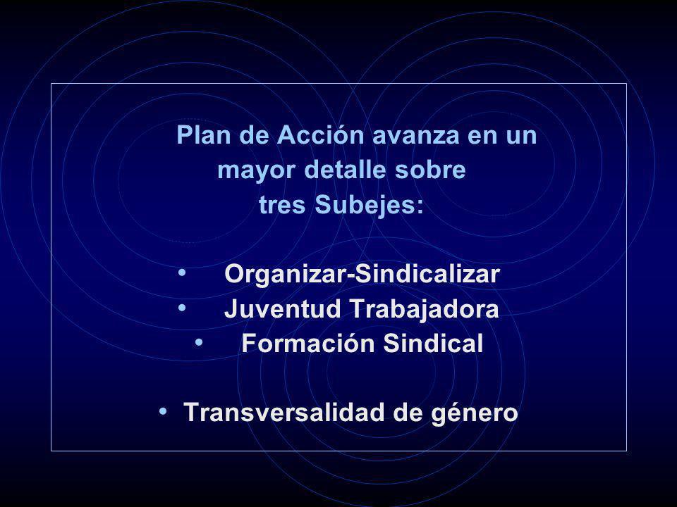 Plan de Acción avanza en un mayor detalle sobre tres Subejes: Organizar-Sindicalizar Juventud Trabajadora Formación Sindical Transversalidad de género