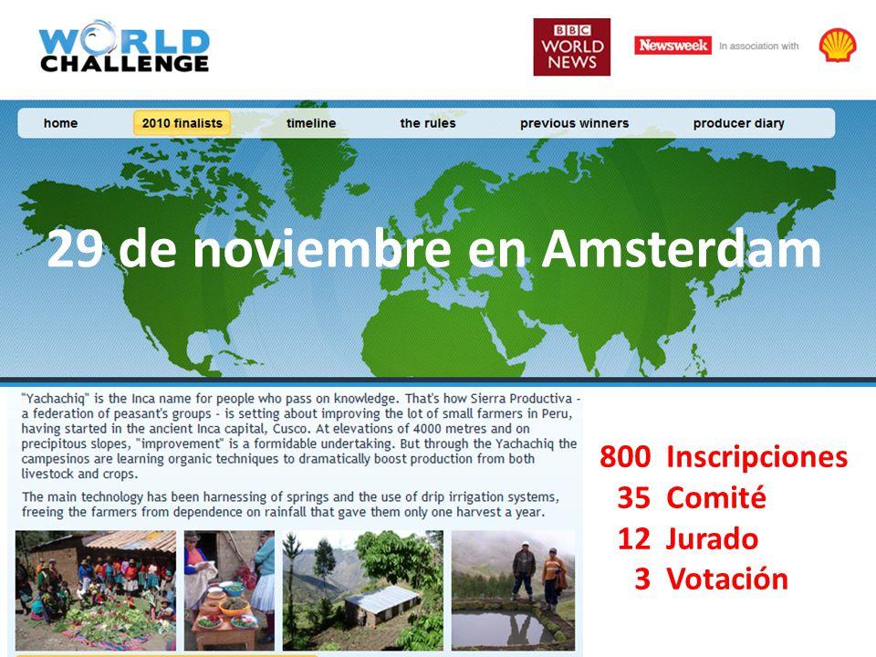 800 35 12 3 29 de noviembre en Amsterdam Inscripciones Comité Jurado Votación