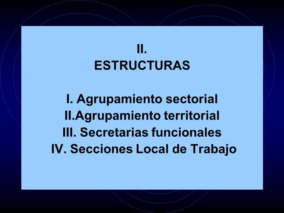 II. ESTRUCTURAS I. Agrupamiento sectorial II.Agrupamiento territorial III. Secretarias funcionales IV. Secciones Local de Trabajo