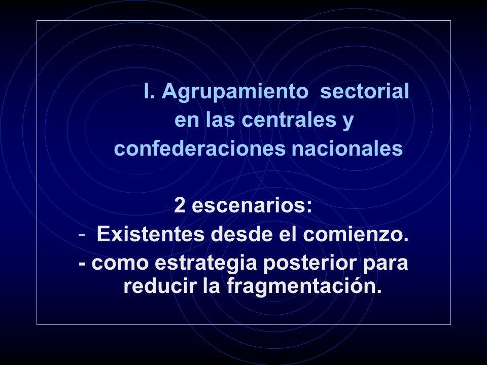I. Agrupamiento sectorial en las centrales y confederaciones nacionales 2 escenarios: - Existentes desde el comienzo. - como estrategia posterior para