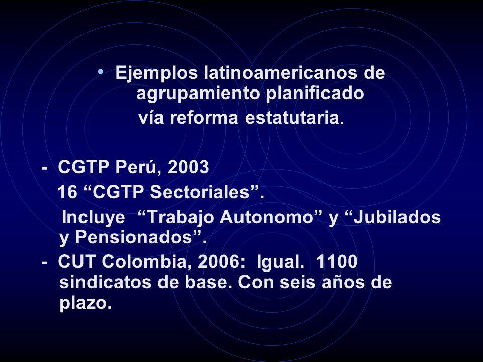 Ejemplos latinoamericanos de agrupamiento planificado vía reforma estatutaria. - CGTP Perú, 2003 16 CGTP Sectoriales. Incluye Trabajo Autonomo y Jubil