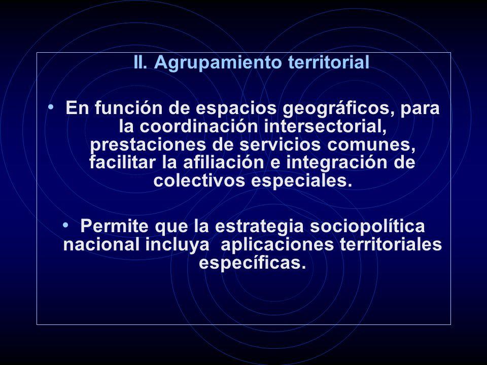 II. Agrupamiento territorial En función de espacios geográficos, para la coordinación intersectorial, prestaciones de servicios comunes, facilitar la