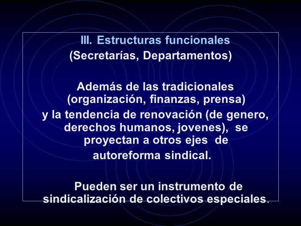 III. Estructuras funcionales (Secretarías, Departamentos) Además de las tradicionales (organización, finanzas, prensa) y la tendencia de renovación (d