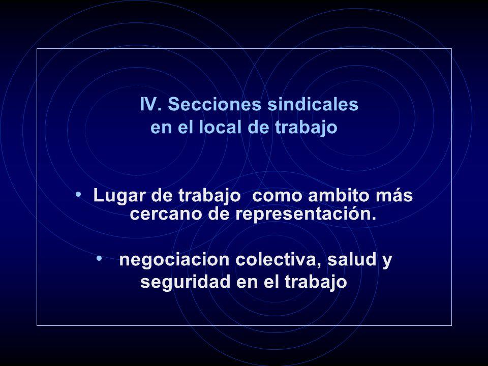 IV. Secciones sindicales en el local de trabajo Lugar de trabajo como ambito más cercano de representación. negociacion colectiva, salud y seguridad e