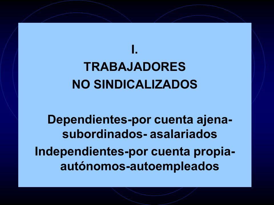 I. TRABAJADORES NO SINDICALIZADOS Dependientes-por cuenta ajena- subordinados- asalariados Independientes-por cuenta propia- autónomos-autoempleados